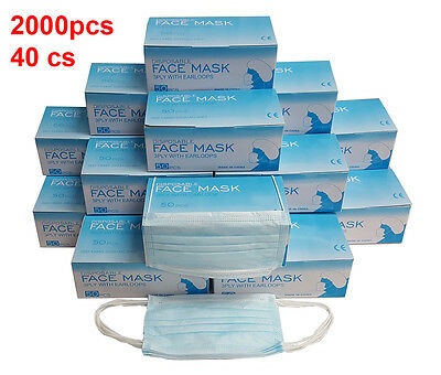 2000 Pcs Disposable 3-ply Earloop Anti-dust Face Mask Medical Dental Nail Health