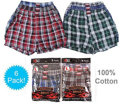 6 Mens Plaid Boxer Shorts 100% Cotton Underwear Lot Pack Small Medium Large -