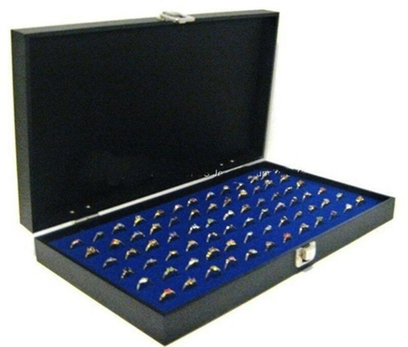 Key Lock Locking Solid Top Lid 72 Ring Blue Jewelry Display Box Storage Case