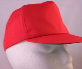 "5 New Red Baseball Caps -100% cotton | 22""(54 cm) - adjustable strap"