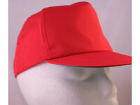 "5 New Red Baseball Caps -100% cotton | 22""(54 cm) - adjustable strap"