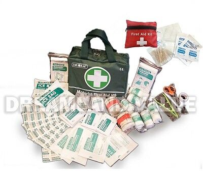 108 PIECE FIRST 1ST AID KIT MEDICAL EMERGENCY TRAVEL HOME CAR WORK GREEN BAG