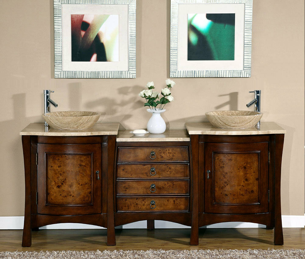 72 Inch Modern Travertine Top Double Bathroom Vessel Sink Vanity Cabinet 0714