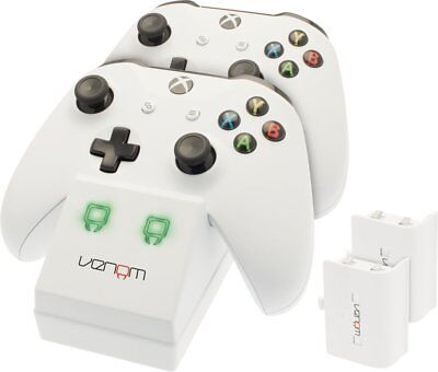 Xbox One Twin Docking Station Charger Rechargeable Battery Xbox One S White
