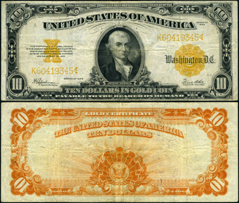 FR. 1173 $10 1922 Gold Certificate VF