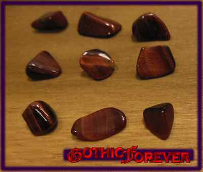 - 5 Small 10mm Combo Ship Tumbled Gem Stone Crystal Natural - Tiger Eye Red