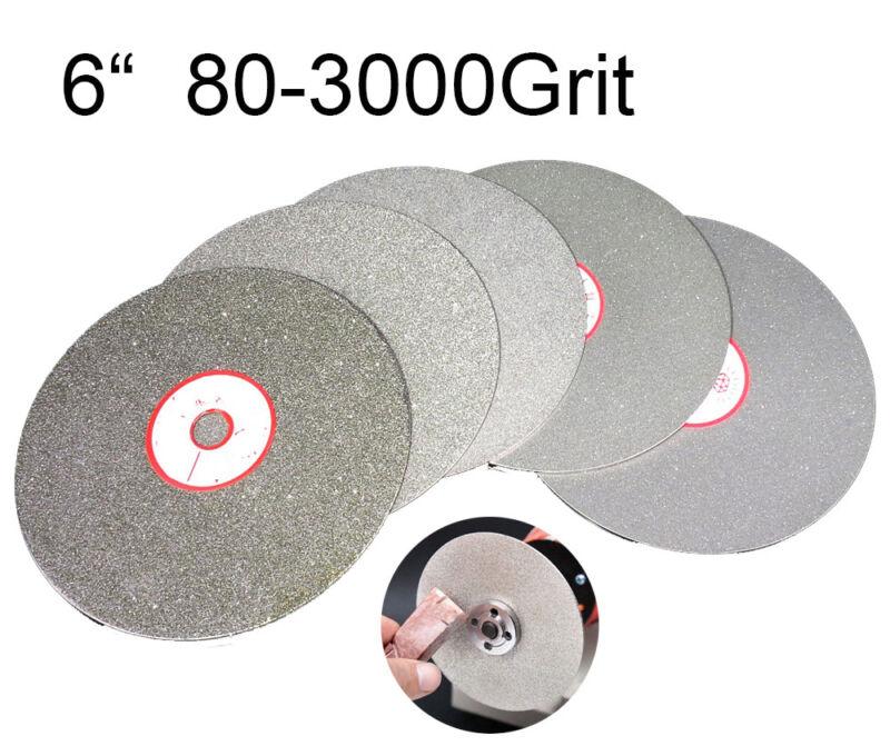 "6"" Diamond Coated Flat Wheel 150mm Lapidary Grinding Polishing Disc 80~3000 Grit"
