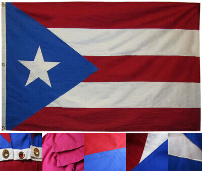 4x6 Puerto Rico Royal Light Blue Cotton Flag 4'x6' Banner Grommets Embroidered