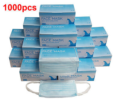 1000 Pcs Disposable 3-ply Earloop Anti-dust Face Mask Medical Dental Nail Health