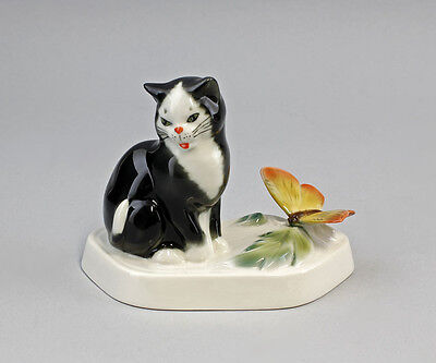 Porzellan Figur Schwarze Katze mit Schmetterling Ens H11cm 9941237