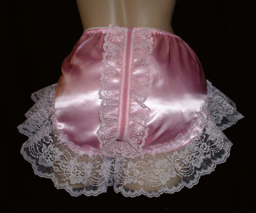 Adult Sissy SATIN Full Cut Panties  - Cross Dresser - Zipper Open Back & Lace
