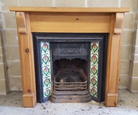 Cast Iron Fire Insert Complete with Tiles and Surround