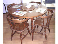 Sturdy Dining Table and 4 Chairs - table diameter 110cm