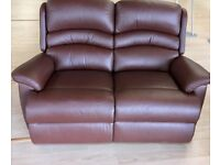 Brand new two seater brown leather sofa