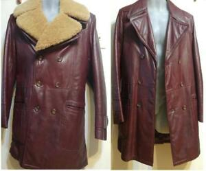 MENS 38 M Vintage Burgundy Leather Sheepskin Shearling Collar Winter Coat Jacket Made in Canada Victoria Burgundy Retro