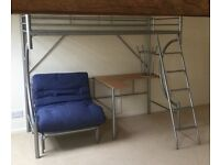 Metal frame bunk bed with desk (& stool) and futon chair