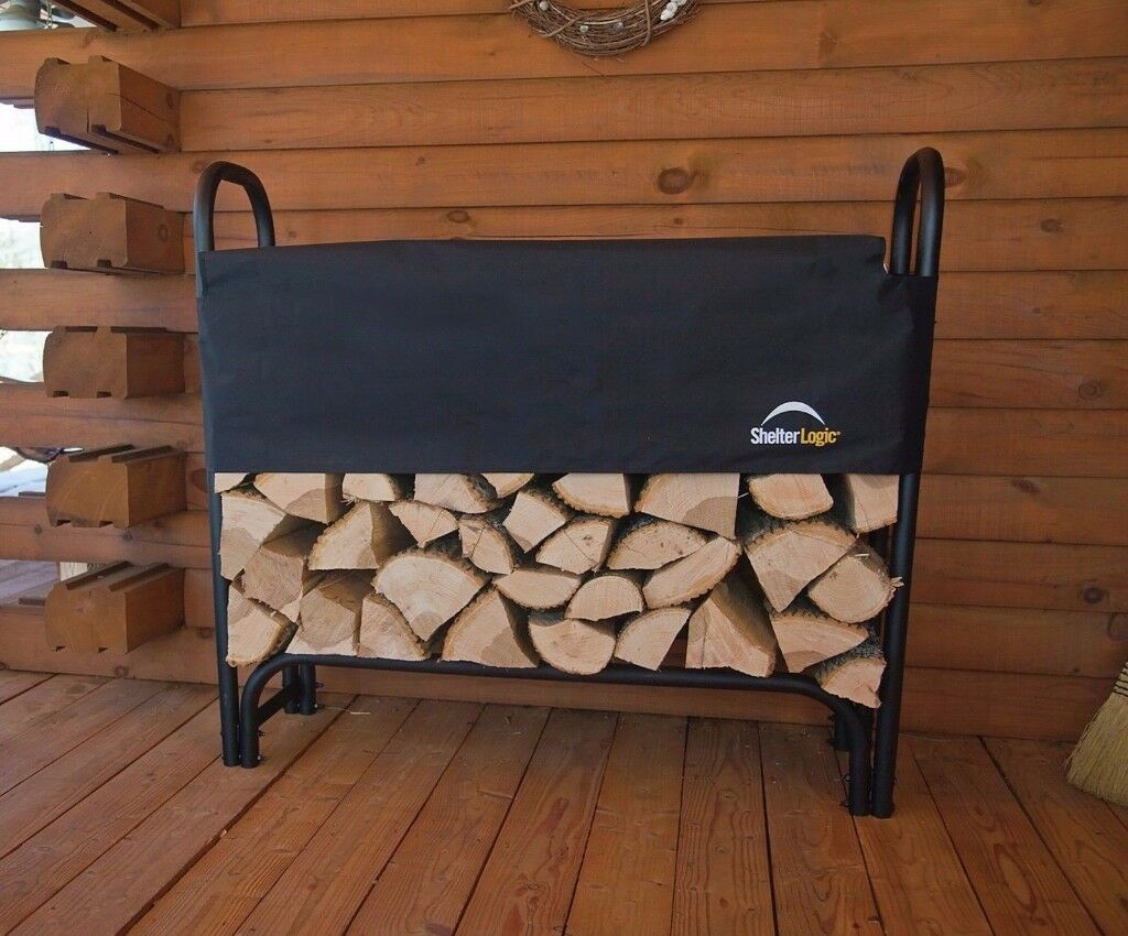 brand new fire wood - log store with cover still in box
