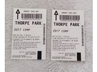 2 X Thorpe park tickets (any day) no restrictions