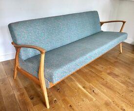 1960s Vintage Retro Sofa Bed - Blue Grey
