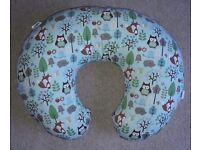 Baby feeding pillow cushion, Bobby, blue, owl, fox, hedgehog, woodland, forest, animal