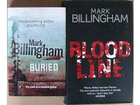 Mark Billingham hardback books, £1 - £2 each.