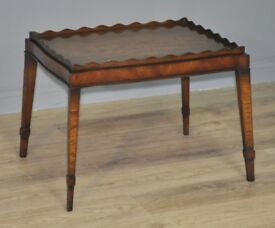 Antique Edwardian Mahogany Small Occasional Side Table With Shaped Gallery