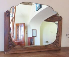 French Art Deco carved wood Mirror