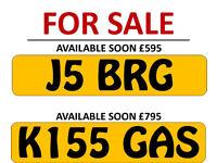Reg numbers J5 BRG - K155 GAS For Sale