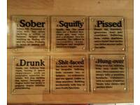 Glass drinking coasters