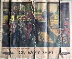 TERENCE CUNEO -ON EARLY SHIFT- ORIGINAL BRITISH RAILWAYS QUAD ROYAL POSTER SIGN