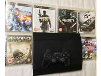 SONY PLAYSTATION SUPERSLIM 500 GB PS3 CONSOLE 1 PAD 10 GAMES COD CALL OF DUTY BLACK OPS MW3 GT6 PS4