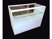 White Matt Glass Shop Counter 1200mm/Ref: 0302