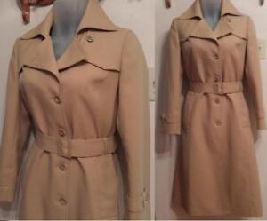 "Oakville  RARE VINTAGE 1970S Retro Raincoat Womens Small fits 34"" bust 36"" hip  4 6 Long Trench Coat Fall Beige"