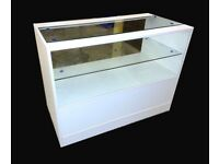White Matt Glass Shop Counter 1200mm/Ref: 0302