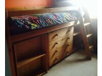 Solid pine Cabin Bed (mid-sleeper) its Chest of Drawers, Desk and Bookcase