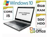 QUICK - HP Elitebook 8470p i5 8gb Ram 500gb HDD 14.1 inch Windows 10 Pro Laptop