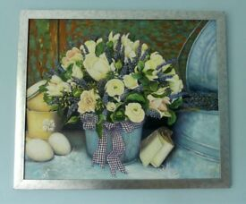 Original Framed Acrylic Painting - Bowl of Flowers H22in/56cm W26in/66cm