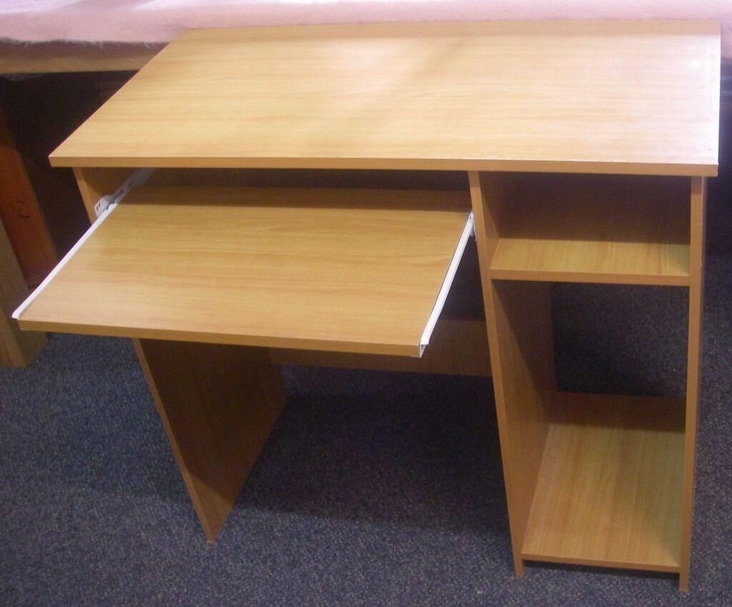 Beech Home Office Computer Desk Sliding Keyboard Shelf Excellent Condition 80cm X 40 73cm High