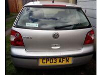 Silver Volkswagen Polo 1.2, 2003, Petrol. MOT til November. Runs well but needs some work.