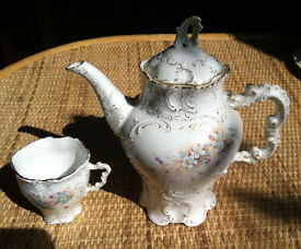 Interesting tea pot and single cup, ornamental, numbered. 1920 's ???