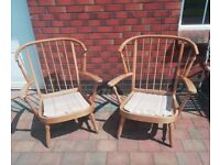 Pair of Large Wooden Chair Frames for Upcyling