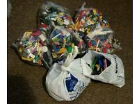 Bags of mixed Lego bricks and connectors