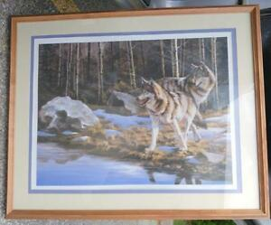 WOLF WOLVES FRAMED PRINT / Signed by the artist / Professional frame  OAKVILLE 905 510 8720   24X28""