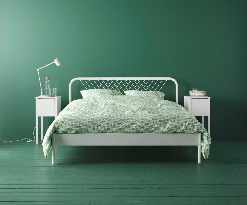 New King Size White Ikea Nesttun Bed Frame With Sprung Mattress