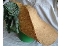 Ladies Wide-brimmed Straw Hat with Silk Bow Detail