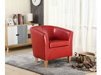 Faux Leather PU Tub Chair Armchair Dining Room Modern Office Furniture - *Mint Condition