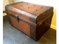 CAN DELIVER Vintage tin travelling trunk / storage chest excellent condition