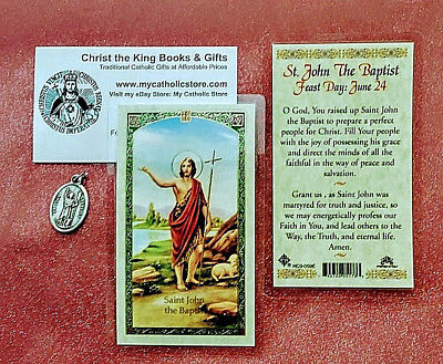 ST JOHN THE BAPTIST LAMINATED HOLY CARD AND MEDAL GIFT SET