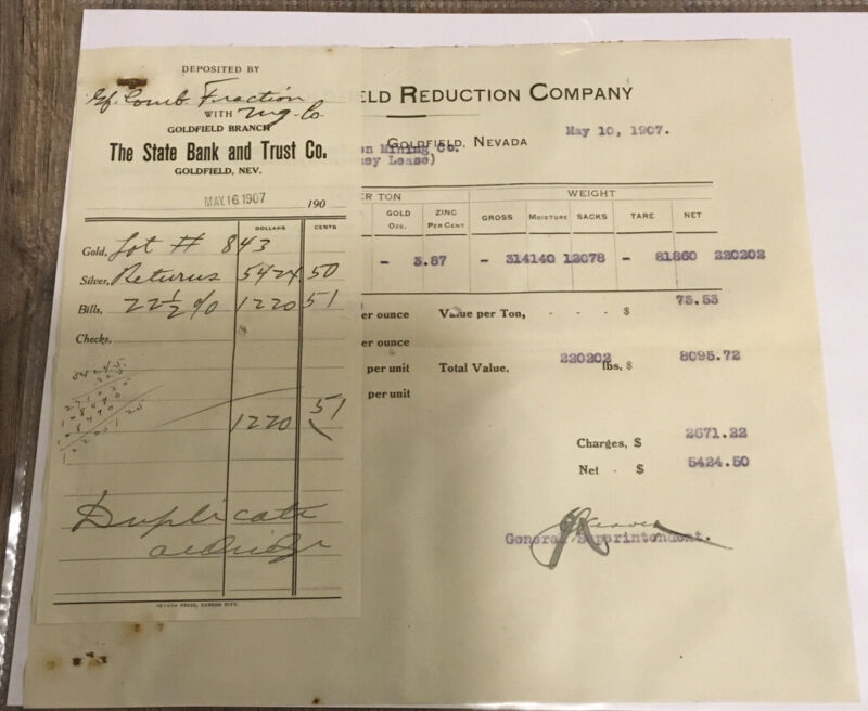1907  Goldfield Nevada Loftus Sweeney Davis Leese Gold Deposit Receipt Mining