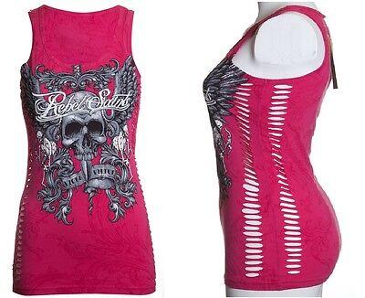 Rebel Saints AFFLICTION Womens TANK TOP T-Shirt GRACE Skull Biker Sinful $30